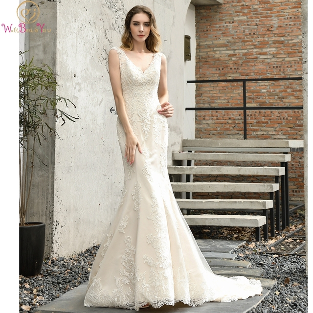 Fleepmart Garden Wedding Dresses Mermaid Ivory Champagne Lace