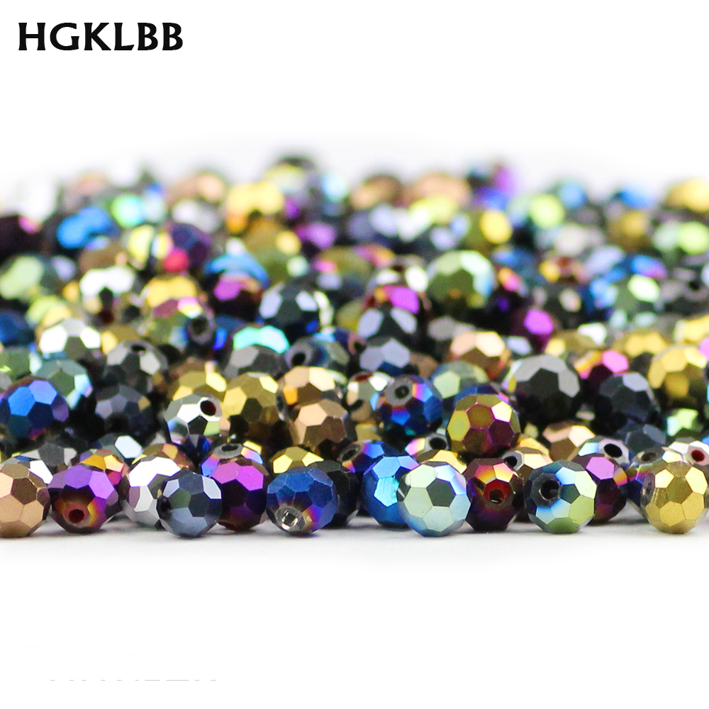 HGKLBB Faceted Austrian crystal <font><b>beads</b></font> ball 6mm 50pcs plated Round charm Loose <font><b>glass</b></font> <font><b>beads</b></font> Jewelry making bracelet Needlework DIY image