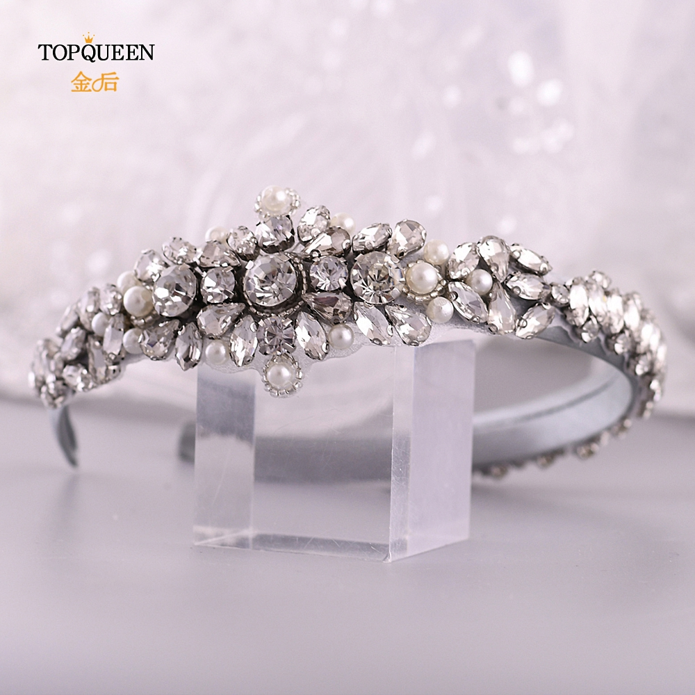 TOPQUEEN Wedding Rhinestone Hair Accessories Bridal Tiara Headpieces Silver Rhinestone Headband Baroque Hair Band S350-FG