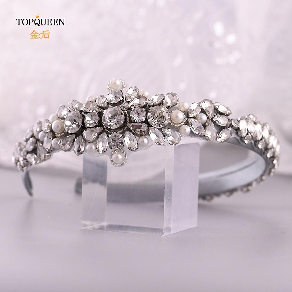 TOPQUEEN Wedding Rhinestone Hair Accessories Bridal Tiara Headpieces Silver Rhinestone Headband Baroque Hair Band S350-FG