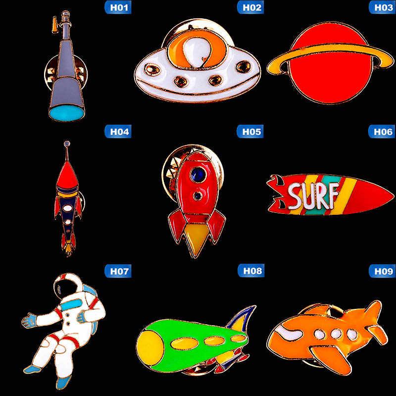 جديد الإبداعية الكون سفينة الفضاء سلسلة بروش صاروخ الغريبة القمر ستار المينا شارة بدبابيس الدينيم الستر التلبيب دبوس الفضاء مجوهرات