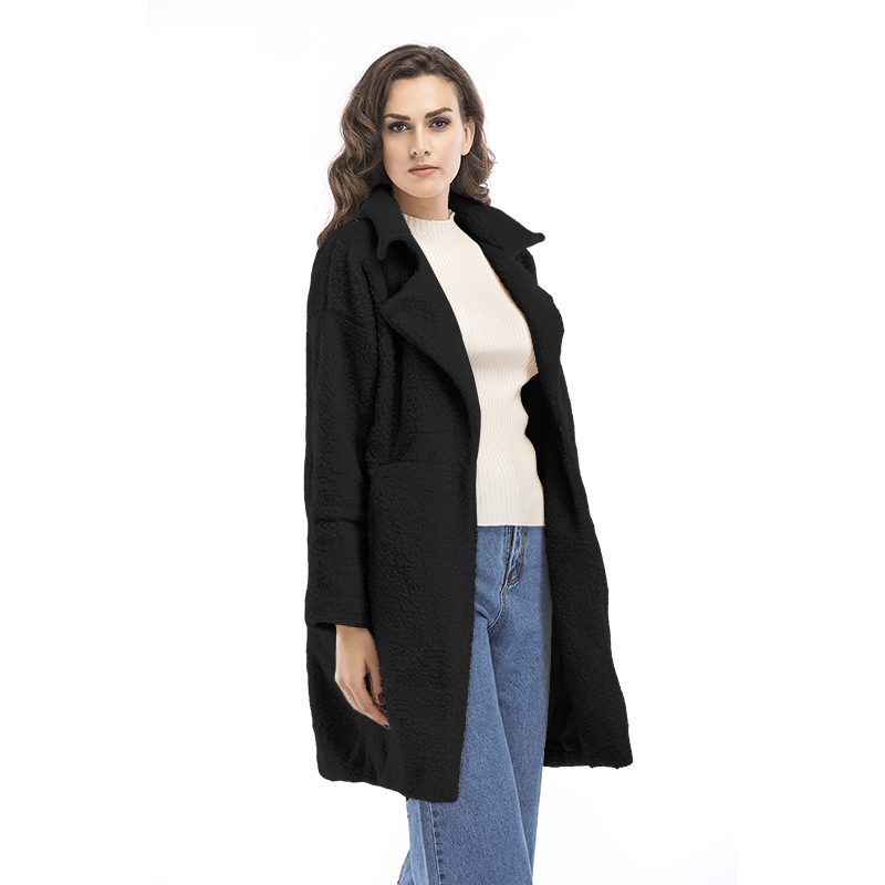 2019 autumn and winter new women's cotton jacket cashmere long-sleeved solid color long coat wool coat 13