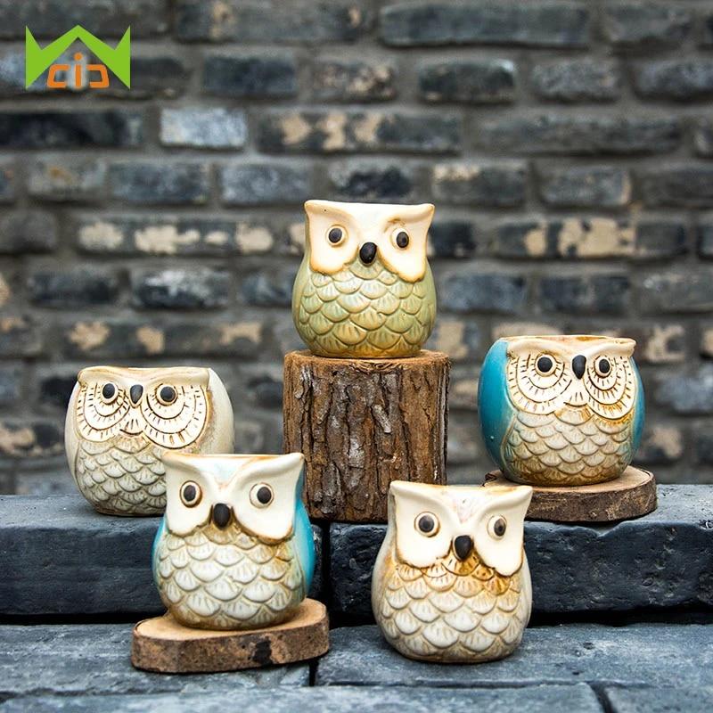 Owl Ceramic FlowerPot Flower Pot Planter Vase Succulent Plant Pots Bonsai Decor