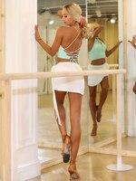 ZYMdancestyle Pure Soul Skirt #1991W Women Latin Dance Practice Wear Mini Skirt Bandage Lace up Slip in White with Underwear