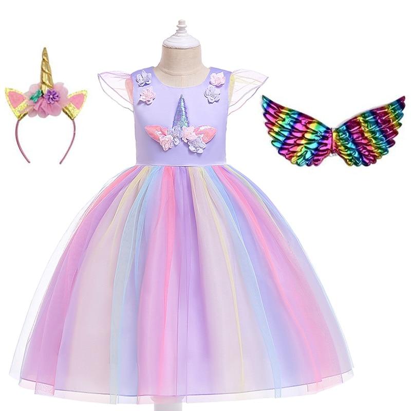 2020 Unicorn Girl Summer Dress For 4 6 8 10 Years Girls Clothing Kids Birthday Party Princess Costume Children Dresses