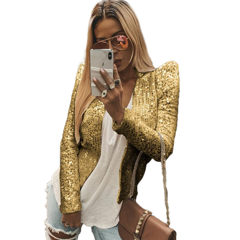 Hirigin Glitter Blazer Long Sleeve Notched Office Ladies Slim Casual Sequin Top Women Autumn Winter Career Formal Outwear
