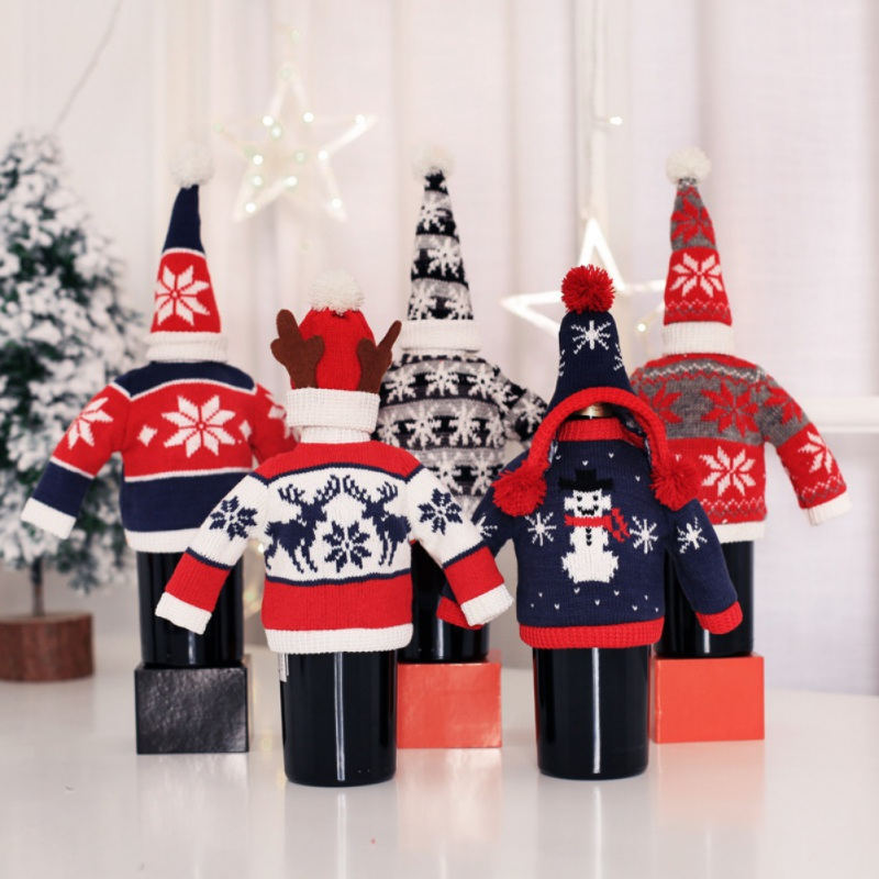 Knitted Sweater Christmas Wine Bottle Cover Snowman Santa Claus Elk Wine Topper Cover Christmas Party Decoration New Year 2020