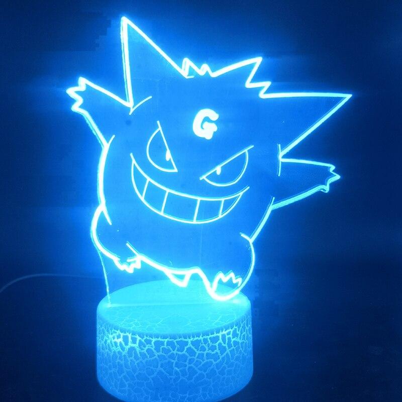 3D Lamp Visual Light Effect Pokemon Gengar Anime&Manga Atmosphere Battery Powered For Indoor Decoration Led Night Light Lamp