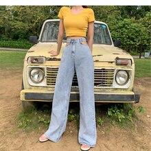 Женские широкие джинсы zosol свободные штаны с высокой талией