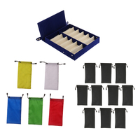Blue Eyeglass Glasses Watches Storage Box Sunglasses Display Case Holder with Drawstring Bag Pouches Set 12 Compartment