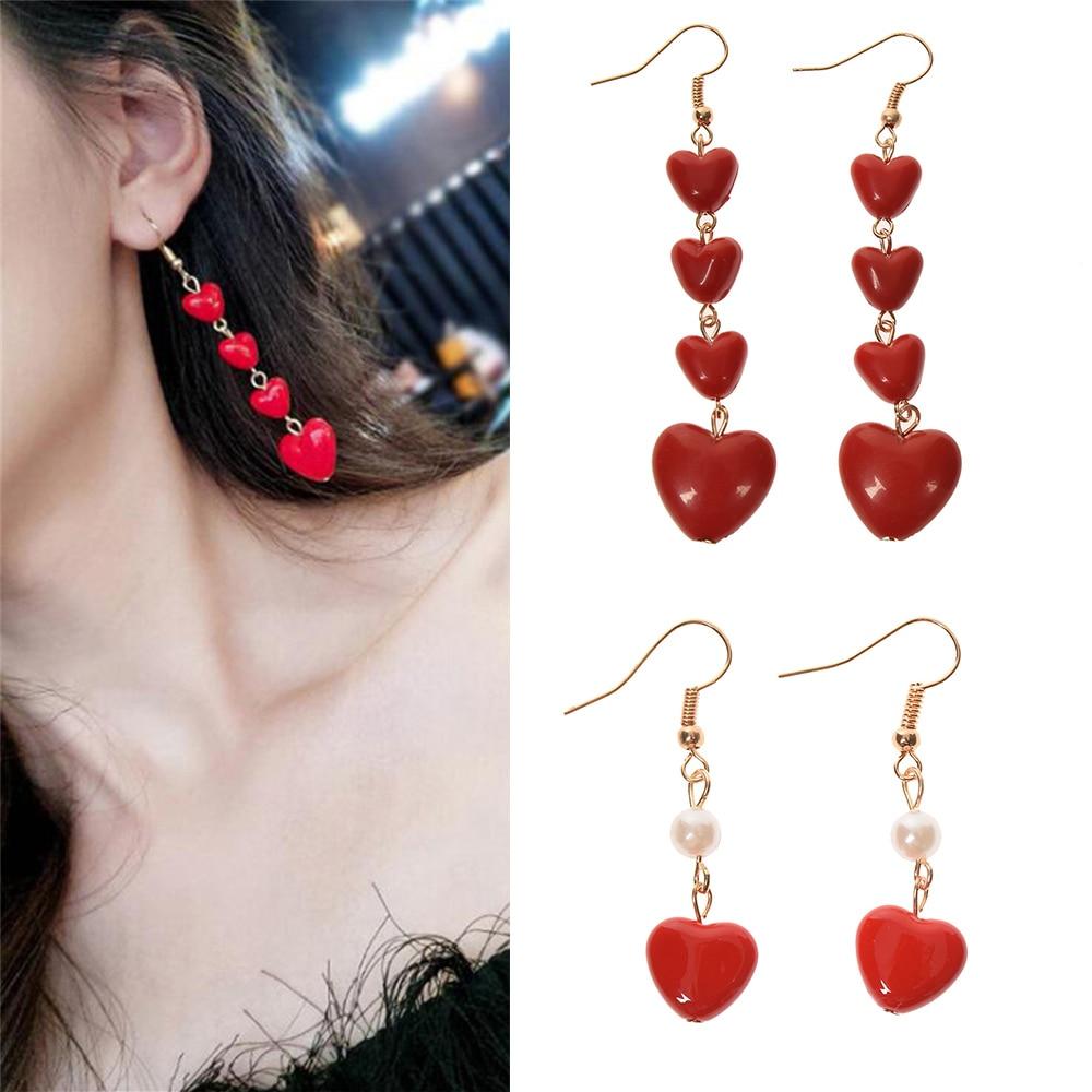 Новый корейский Стиль симпатичная подвеска-сердце с длинной бахромой серьги с изображением красного сердца, свисающие серьги для женщин, с...