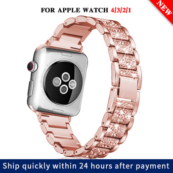 цена на Stainless steel strap for Apple Watch 40mm 44mm 38mm 42mm ladies diamond band for Apple iWatch series 5 4 3 2 1 iWatch bracelet