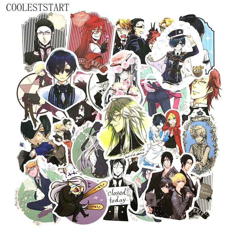 50 Pcs/Set Anime Black Butler Stickers For Kids Luggage Laptop  Motorcycle Skateboard Bicycle Stationery Kuroshitsuji Stickes
