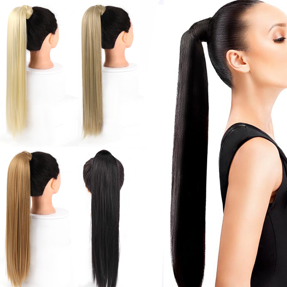 AOSIWIG Long Straight Ponytail For Women Wrap Around On Ponytail Extension Heat Resistant Synthetic Natural Fake Hairpiece