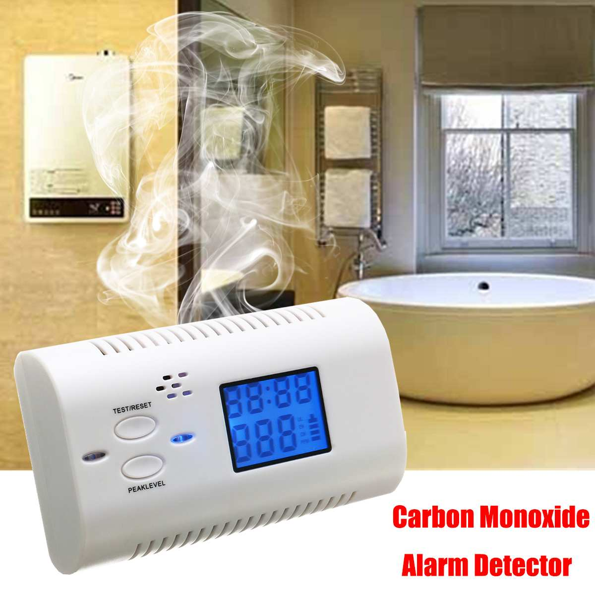 Security Alarm Voice Carbon Monoxide Detector LCD Display Poisoning Gas Alarm Sensor Co Detector 9V Battery For Home Kitchen