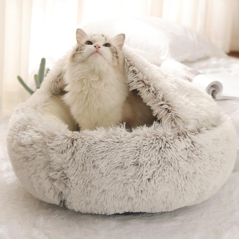 Новые Теплые кошка собака кровать коврик круглые плюшевые домашние диван мягкий спальный домашние кровать для кошек и собак домашних живот...