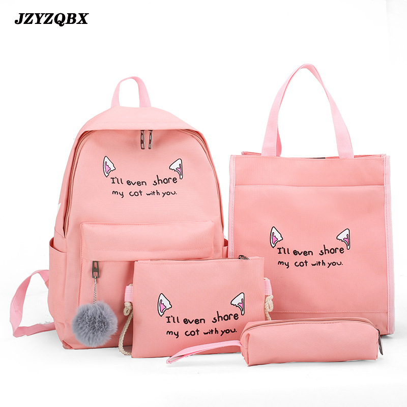 JZYZQBX 4 Pcs/Set School Bag School Backpack For Girls Teenagers Students School Bags Cute Cartoon Backpacks Mochila Escolar