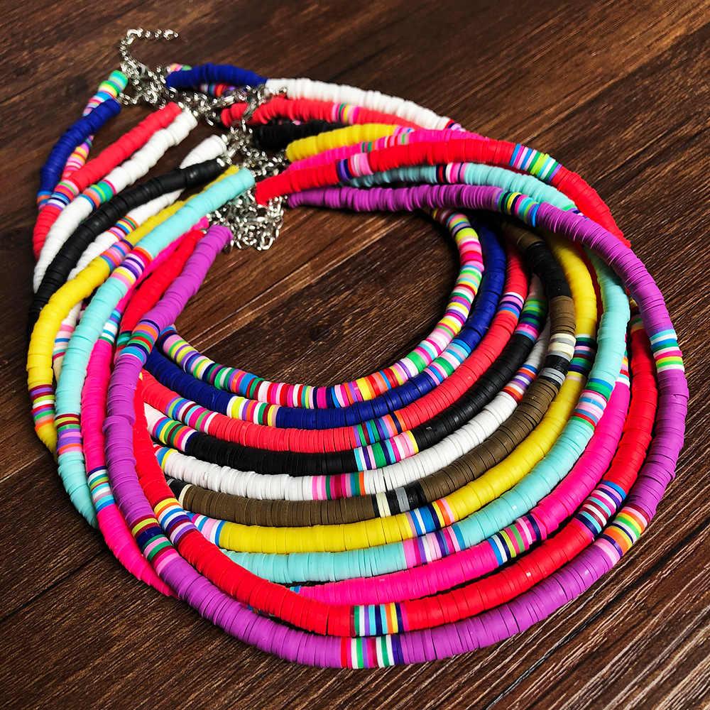Donarsei 2020 Baru Fashion 6Mm Lembut Tembikar Kalung Kalung untuk Wanita Bohemian Adjustable Colorful Tanah Liat Kerah Kalung Hadiah