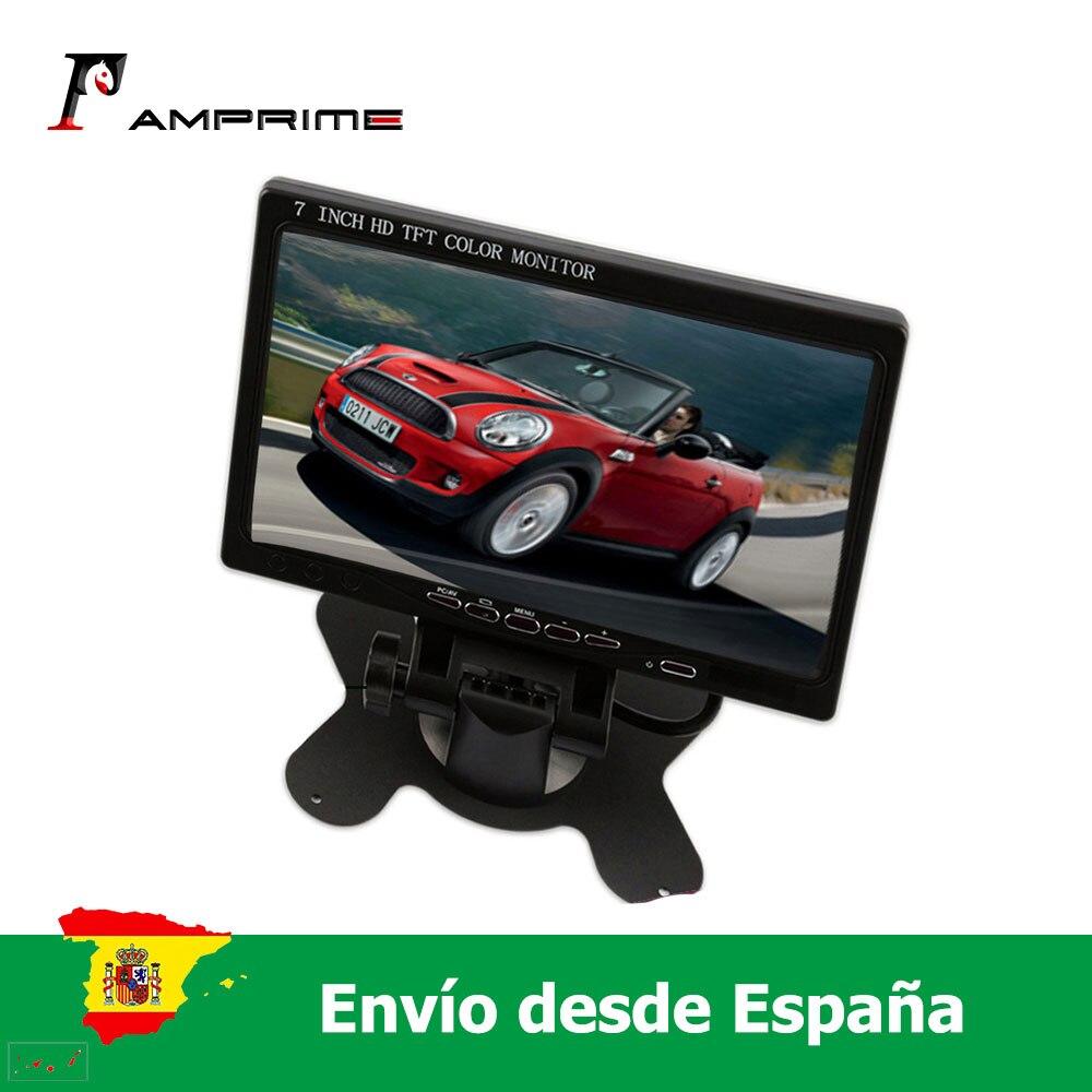 AMprime 7 ''monitor samochodowy hd ekran z tyłu cyfrowy wyświetlacz hdmi vga DVD dla kamera cofania samochodu + pilot z zasilaczem