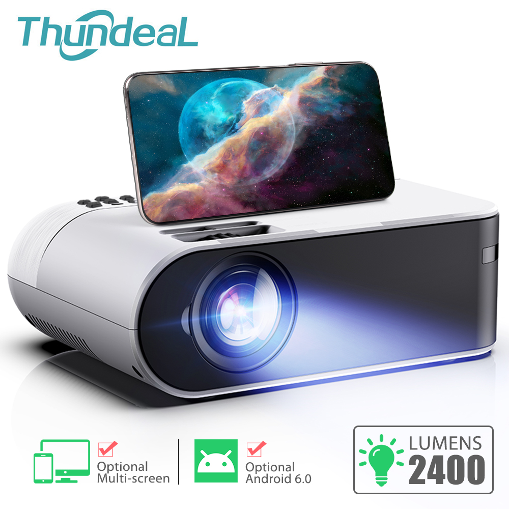 ThundeaL TD60 Mini Projector Portable WiFi Android 6.0 Home Cinema For 1080P Video Proyector 2400 Lumens Phone Video 3D Beamer