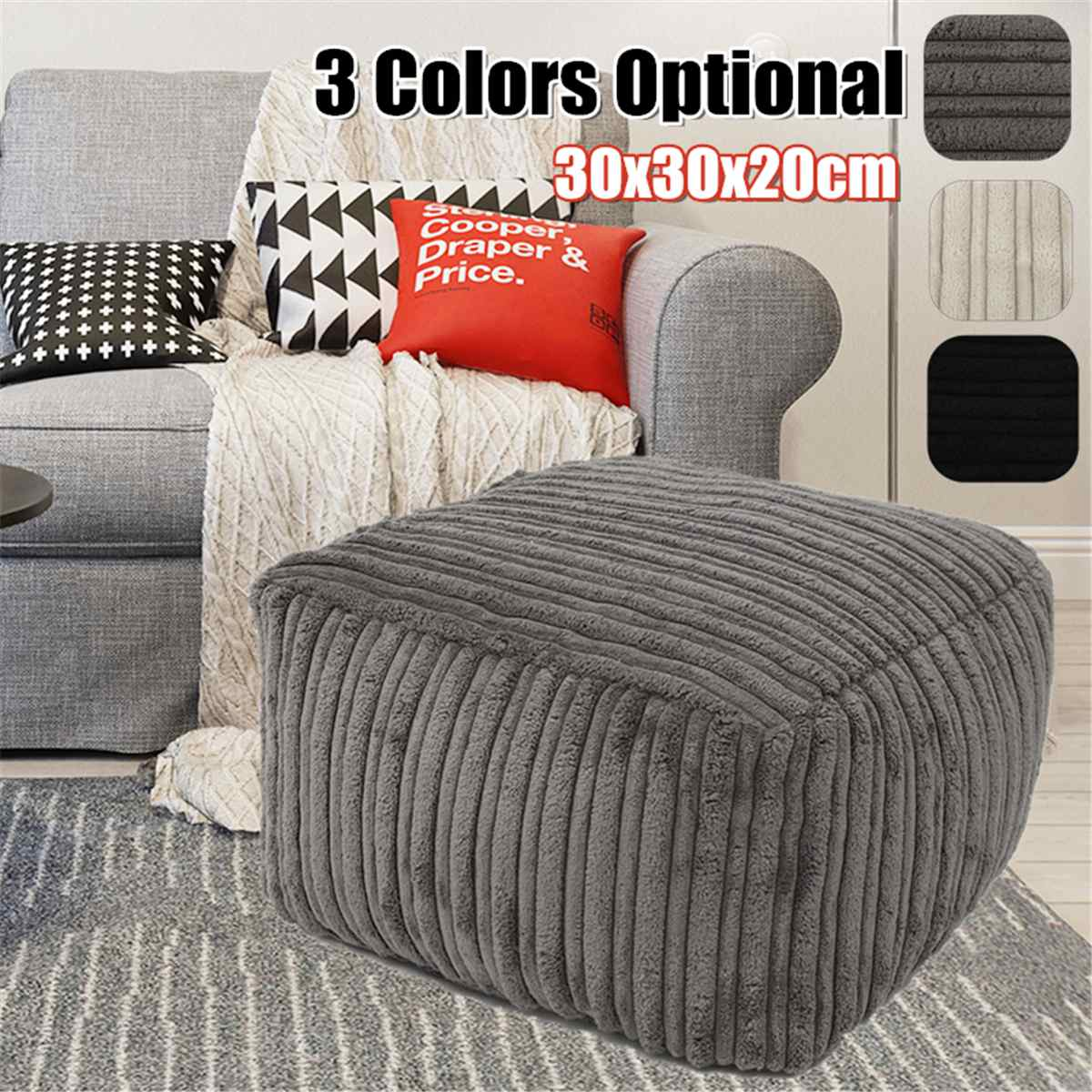 Footrest Cover Sofa Cover Seat Footstools Foot Rest Stool Covers Pouffe Ottoman Corduroy Furniture Beanbag Cover No Filling