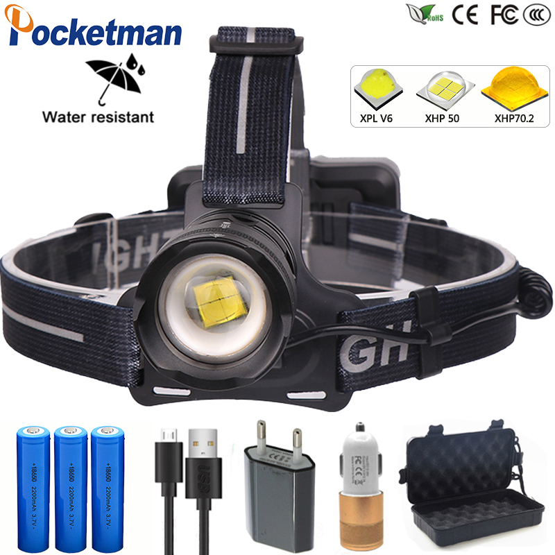 Most Powerful 50W XHP70.2 Powerful Led Headlamp Lantern Head Lamp Zoomable USB Torches 18650 Flashlight For Camping Fishing