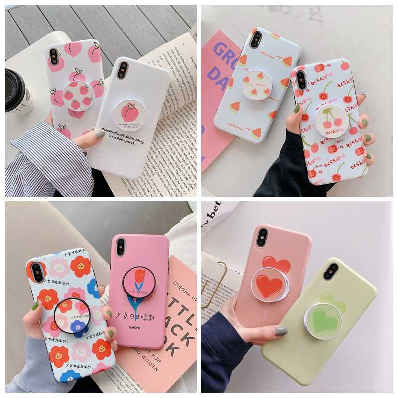 Untuk iPhone 7 Plus XR X XS Max Case Nanas Daun Maple Foldable Kickstand Pemegang untuk iPhone 8 6 6 S PLUS Soft TPU Coque