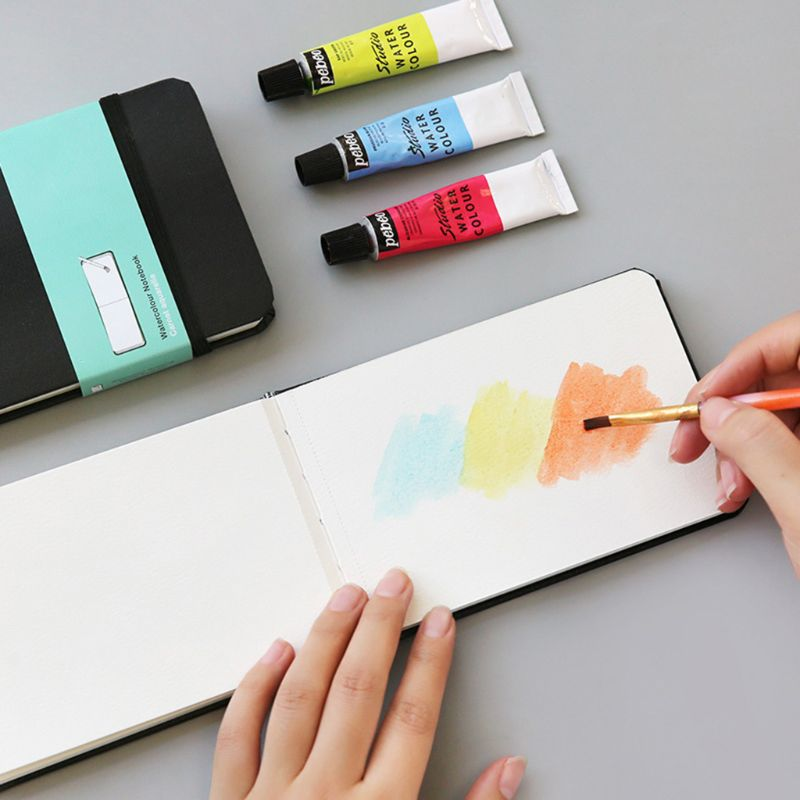 PU Leather Cover Watercolor Book A6 Paper Hand Book Hand-painted Sketch Travel Portable Painting Art Supplies Y51A