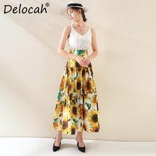 Delocah Runway Fashion Autumn Long Cotton Skirt Womens High Waist Sunflower Printed Ruched Elegant Casual Ladies 2019