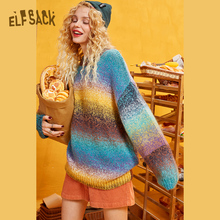 ELFSACK Rainbow Color Striped Women Sweater.2019 Winter Fashion Sweet Gradient Ramp Knitted Tops Mohair Oversize Autumn Clothing
