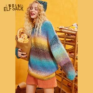 Image 1 - ELFSACK קשת צבע פסים נשים Sweater.2019 חורף אופנה מתוק שיפוע רמפה סרוג צמרות אנגורה ענקיות סתיו בגדים