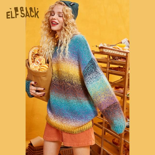 ELFSACK קשת צבע פסים נשים Sweater.2019 חורף אופנה מתוק שיפוע רמפה סרוג צמרות אנגורה ענקיות סתיו בגדים
