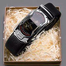 Cinturones de cuero para hombre, de 3,5 cm de ancho, hebilla automática a la moda, de cuero genuino negro, de vaca