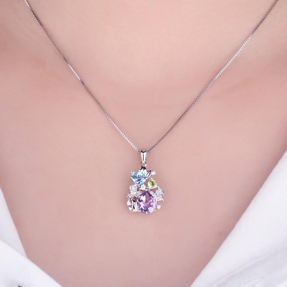 Image 4 - Flower Natural Amethyst Peridot Topaz Pendant Necklace 925  Sterling Silver Gemstones Statement Necklace Women Without  ChainNecklaces