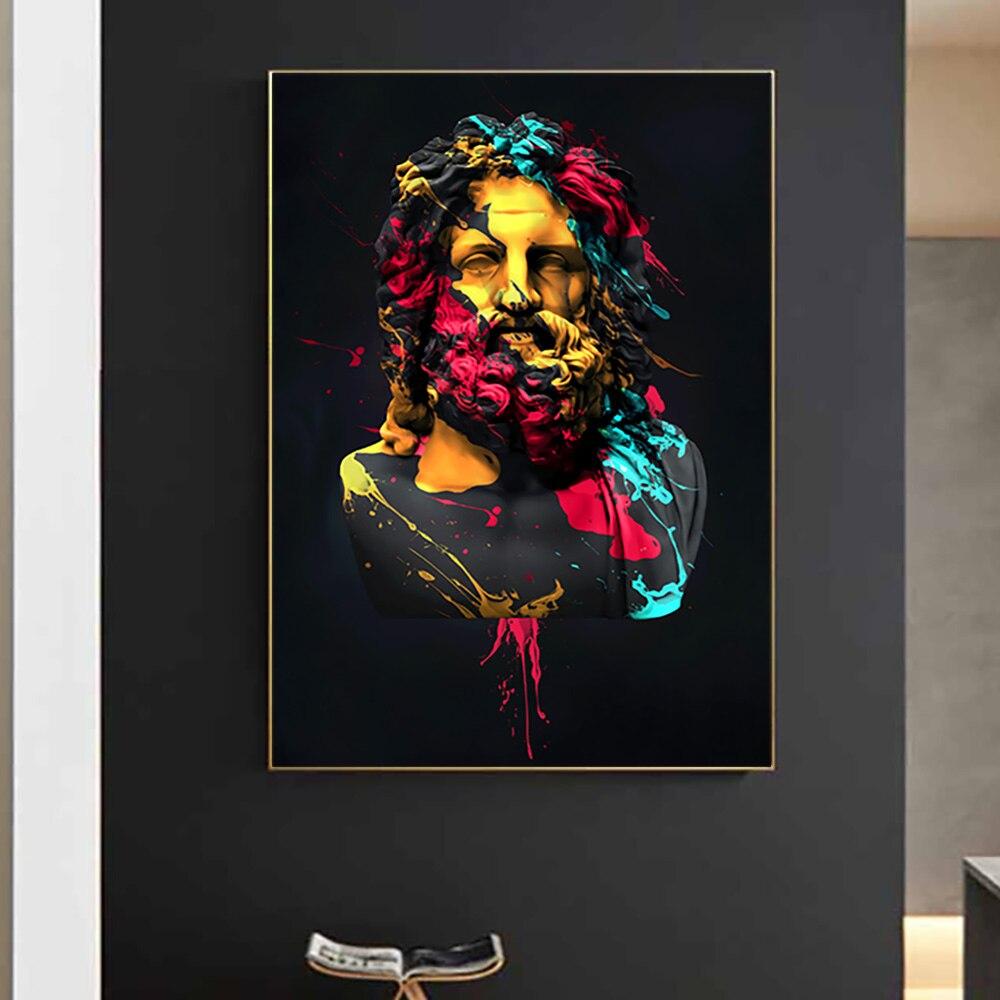 Греческой Zeus Скульптура холст художественные плакаты и принты портрет Зевса стены Картины Печать на холсте фотографии домашний декор