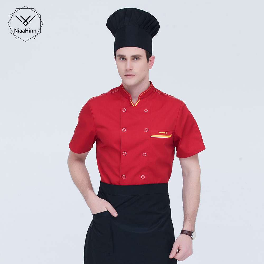 Double-breasted Chef Uniform Hotel Catering Kitchen Men's Jacket Cookware Overalls Restaurant Uniform Short Sleeve Chef Clothes