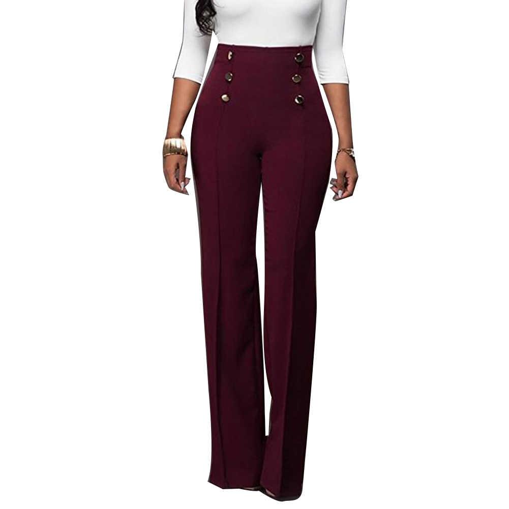 Kadınlar katı renk geniş bacak pantolon yüksek bel Flared pantolon ince gevşek Slacks yeni şık