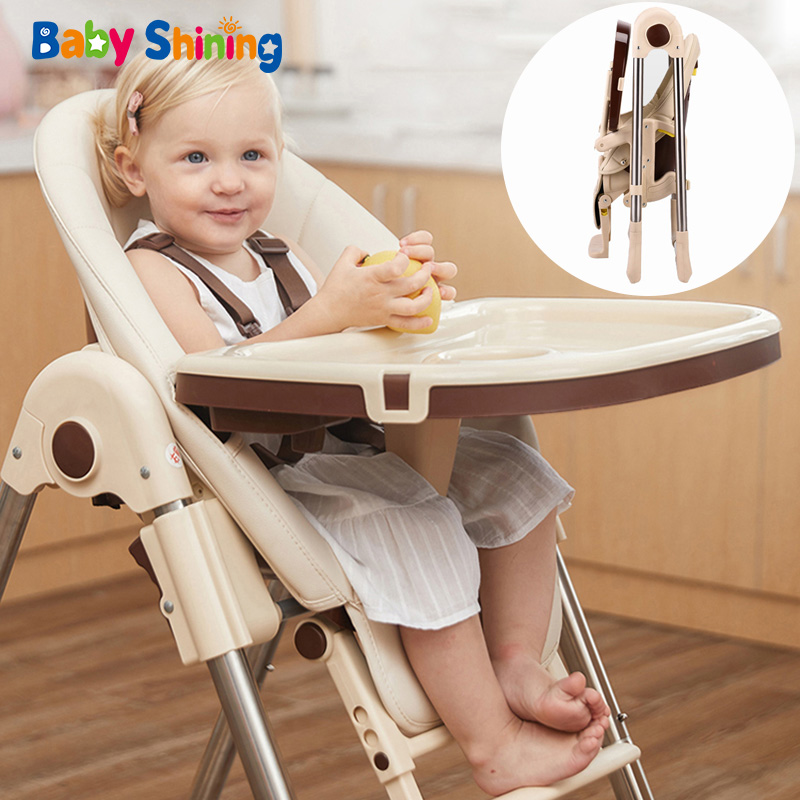 Baby Shining Muti-function Baby High Chair Kid Feeding Chair Foldable Dining Table Chair Portable Seat Baby Dining Chair 4 Wheel