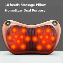 2021 New Neck Massager 18 Heads Relaxation Massage Pillow Vibrator Heating Massager for Body Neck Back Rechargeable