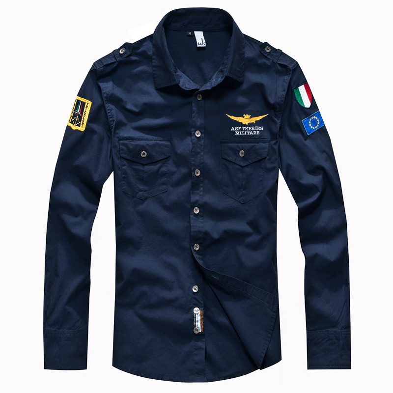 New Autumn Long Sleeve Shirts For Men Military Cotton Air Force One MA Casual Shirts Summer Embroidered Uniform Pilot Shirt 4XL
