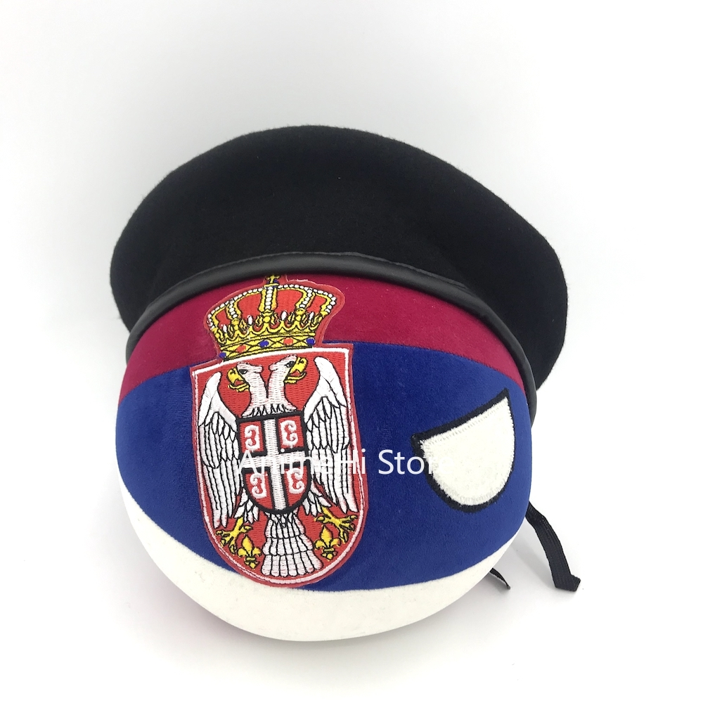 Polandball Plush ToysThe Republic of Serbia Ball and Beret hat Doll SRB countryballs plushies Cosplay  for Gift 20CM