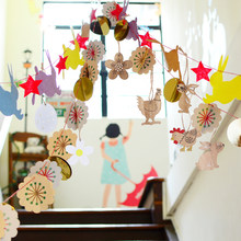 32pcs Wooden Easter Decoration Hanging Ornaments Pendants Rabbit Cocks Eggs Flower Cutout Crafts Easter Decorations For Home(China)