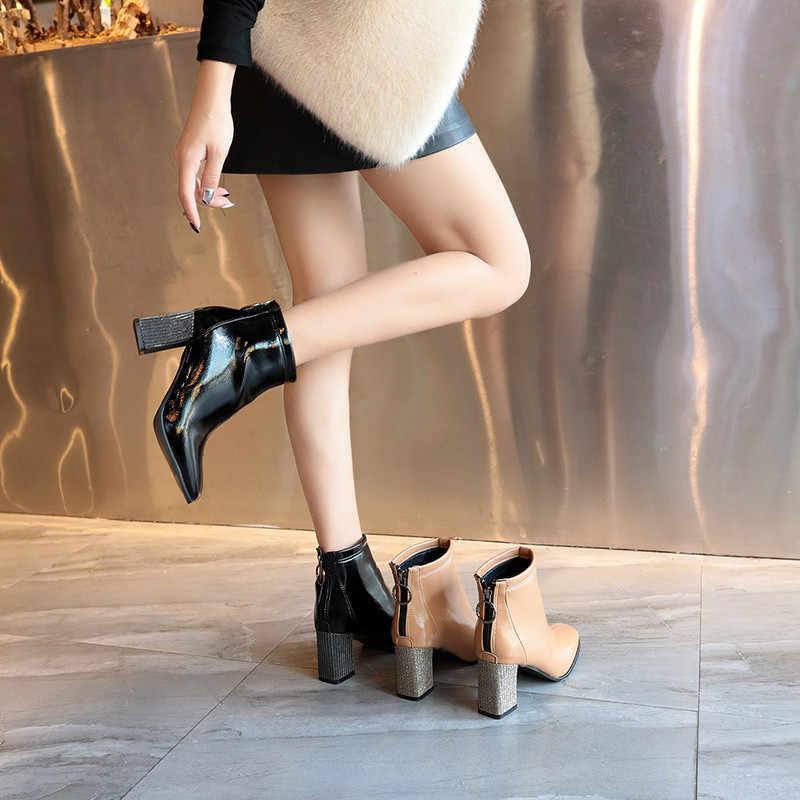 COOTELILI Patent Deri Çizmeler Topuklu Botines Mujer yarım çizmeler Kadınlar Için Yüksek Topuklu Moda Zip Çizmeler Kare Ayak