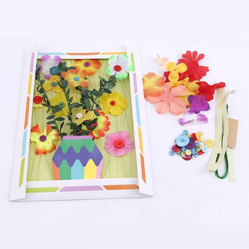 Children Kid DIY Handmade Buttons Flower Button Bouquet Kindergarten Manual Course Class Button Flower Handicrafts Toys