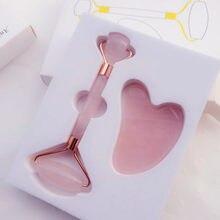 Rouleau de massage à quartz rose pour le visage, coffret de soins de beauté, avec accessoires en pierres naturelles, de jade, pour masser la peau, pour amincissement