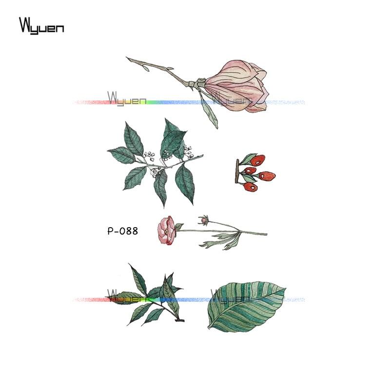 Wyuen Flower Rose Waterproof Temporary Tattoo Sticker for Adults Kids Body Art Women New Design Water Transfer Fake Tatoo P-108 1