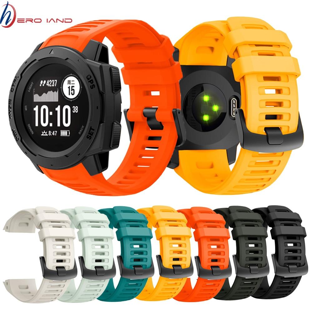 22mm Sports Watch Silicone Band Wristband Strap For Garmin Instinct Strap Replacement Wristband Strap Smart Wrist Band Strap