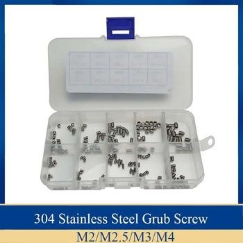 цена на 200Pcs/set 304 Stainless Steel Metric Thread Grub Screw M2 M2.5 M3 M4 Flat Point Hexagon Socket Set Screws Headless Kit