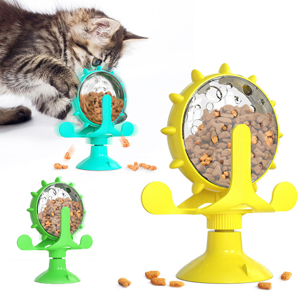 Interactive Cat toy Windmill Pet Funny Feeder Toys for dog Sucker Leaking Turntable Kitty Puppies Puzzle Training Supplies