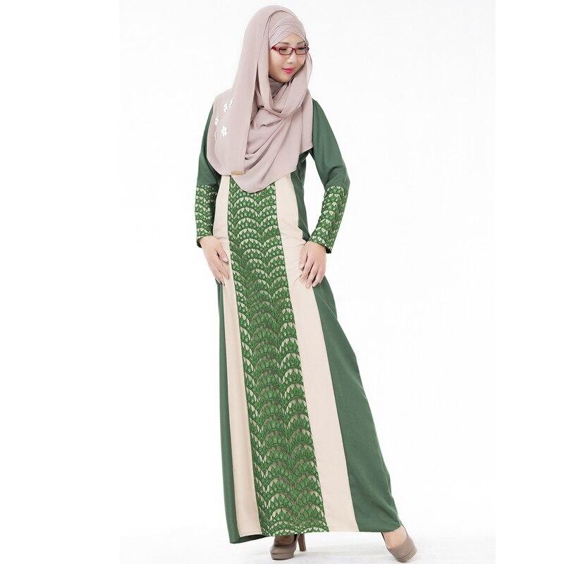 Arab Autumn Lace Stitching Long Dresses Women Muslim Evening Kebaya Islamic Robe